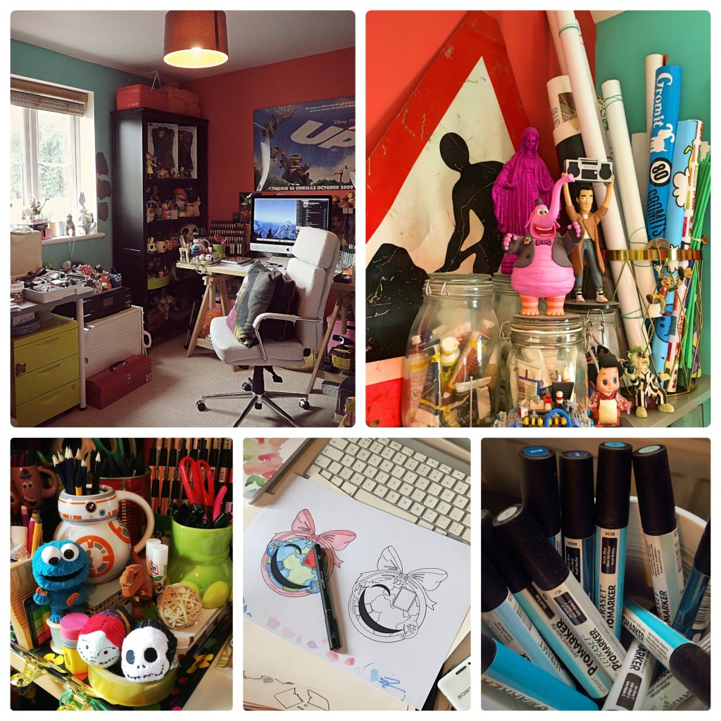 Collage of my current creative space