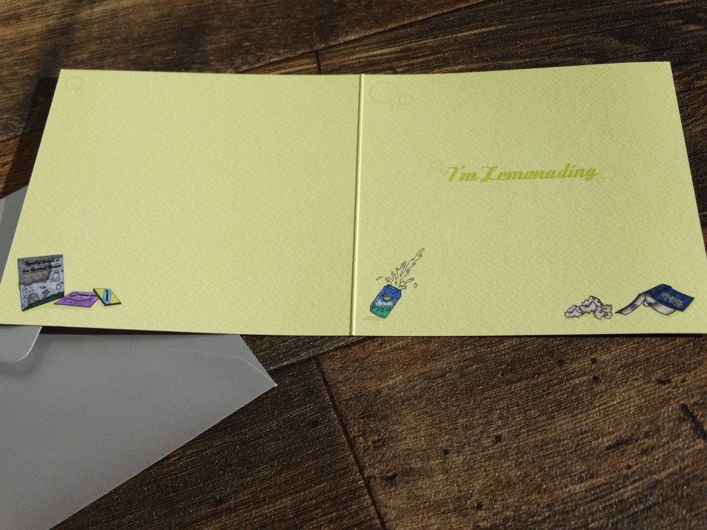 Inside of lemonade card
